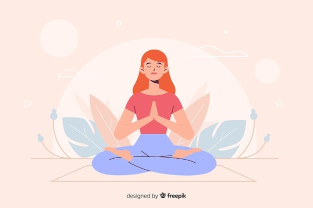 Vrouw in yogapositie voor bestemmingspagina Gratis Vector