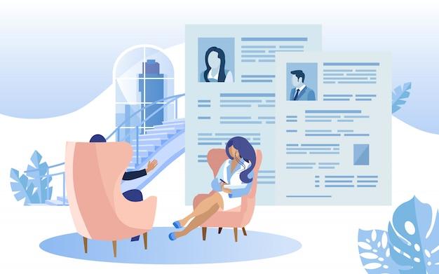 Vrouw interviewing coworking center beoordeling cv. Premium Vector
