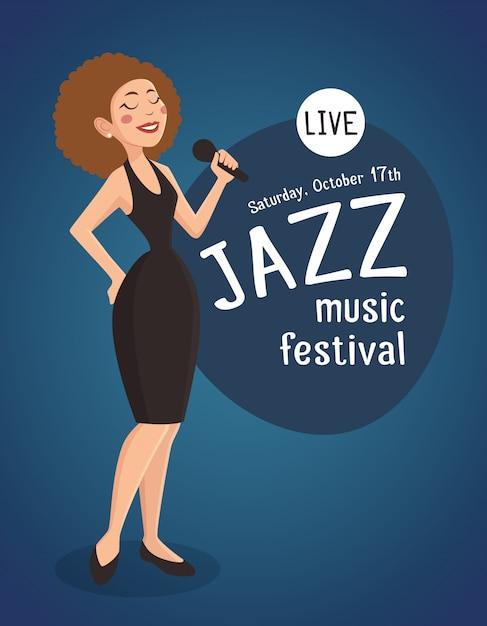 Vrouw jazz zanger illustratie Gratis Vector