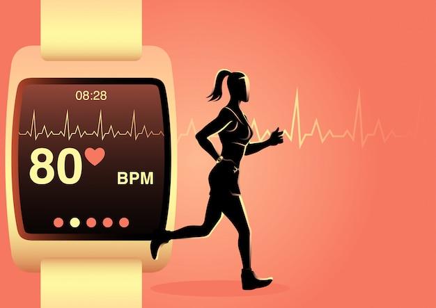 Vrouw joggen met slimme horloge Premium Vector