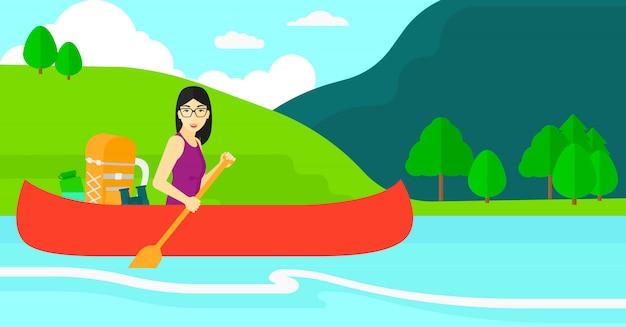 Vrouw kanovaren op de rivier. Premium Vector