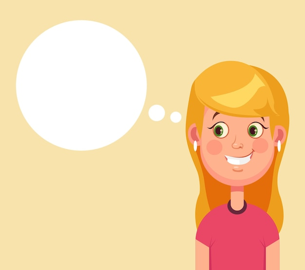 Vrouw karakter heeft een goed idee en toespraak bubble cartoon afbeelding Premium Vector