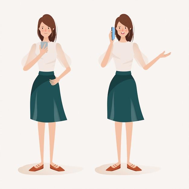 Vrouw karakter met behulp van een mobiele telefoon. social media-netwerkcommunicatietrend. Premium Vector