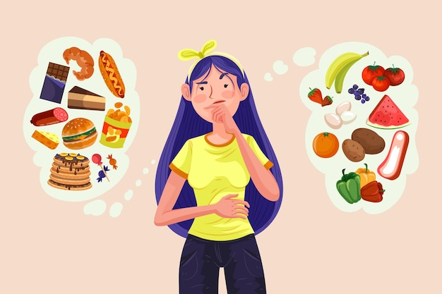 Vrouw kiezen tussen gezond of ongezond voedsel Gratis Vector