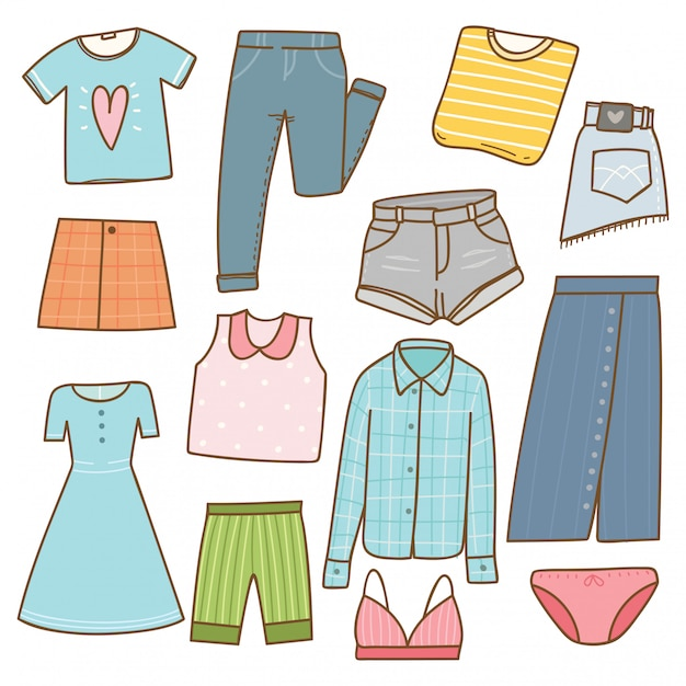 Vrouw kleding collectie in doodle stijl Premium Vector
