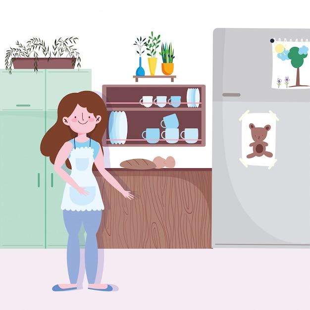 Vrouw koken in de keuken Premium Vector