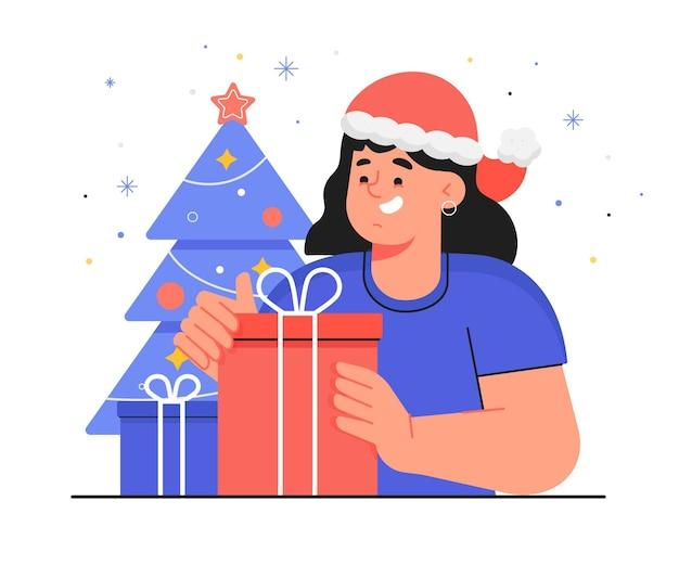 Vrouw krijgt een kerstcadeau Gratis Vector