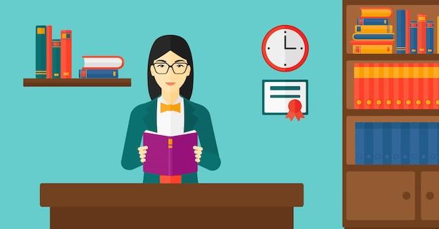 Vrouw leesboek Premium Vector