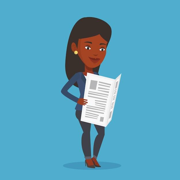 Vrouw leest krant illustratie. Premium Vector