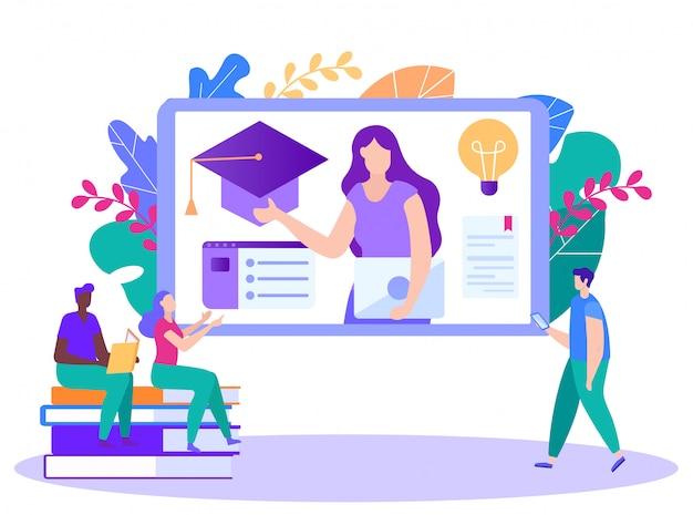 Vrouw leidt cursuslezingen online. afstand leren. online les. e-learning. online training. Premium Vector