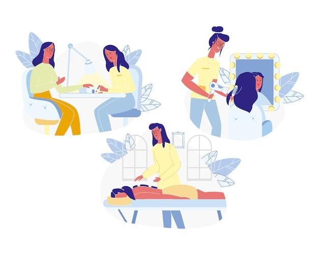 Vrouw levensstijl set geïsoleerd op een witte achtergrond. Premium Vector