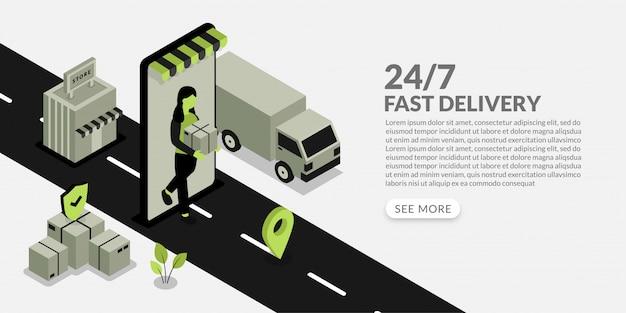 Vrouw levert pakket aan klant, snelle bezorgservice in soms ontwerp Premium Vector