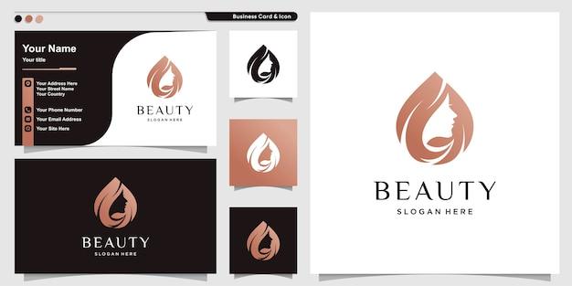 Vrouw logo met schoonheid moderne stijl en visitekaartje ontwerpsjabloon Premium Vector