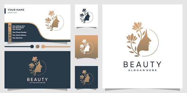 Vrouw logo met schoonheid verloop concept en bedrijf Premium Vector
