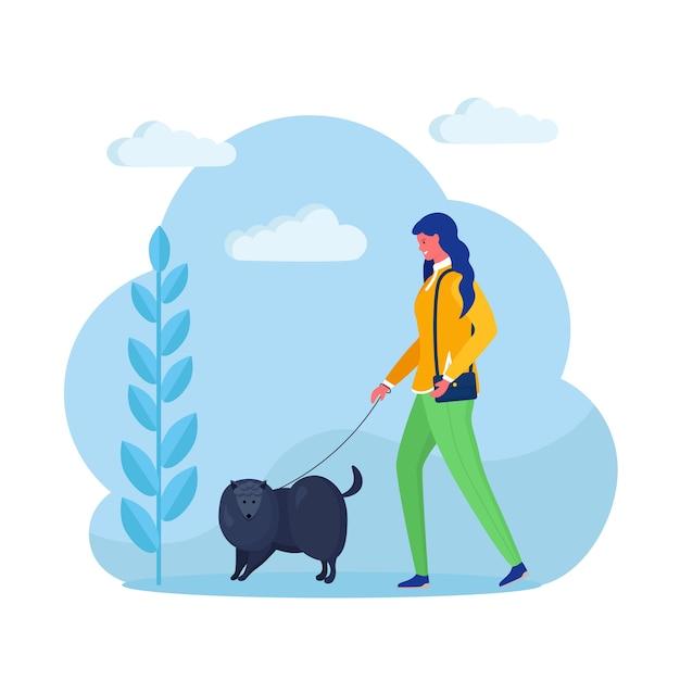 Vrouw loopt met hond. gelukkig meisjesspel met huisdier. puppy aangelijnd op achtergrond. Premium Vector