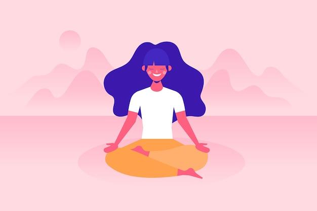 Vrouw mediteren concept Gratis Vector