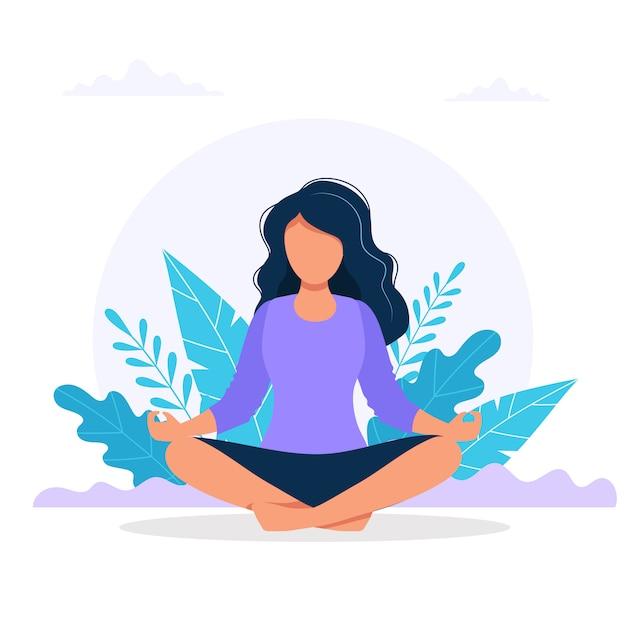 Vrouw mediteren in de natuur. Premium Vector