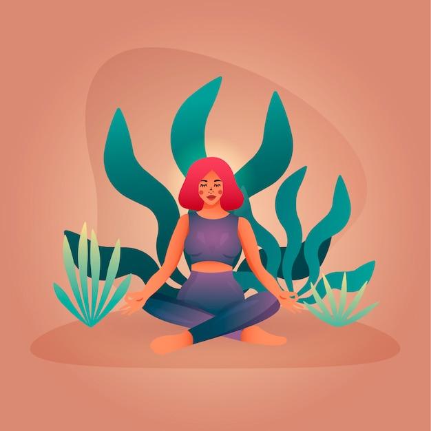 Vrouw mediteren in een lotuspositie. minimalistisch concept voor yoga- en meditatielessen. Premium Vector