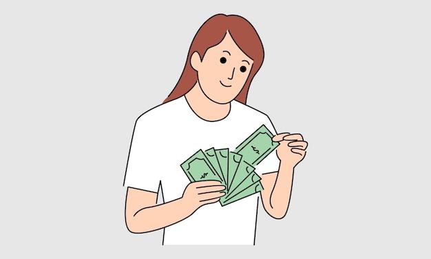 Vrouw met bankbiljetten van geld Premium Vector