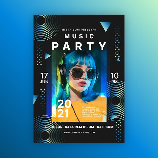 Vrouw met blauw haar muziek evenement poster sjabloon Gratis Vector