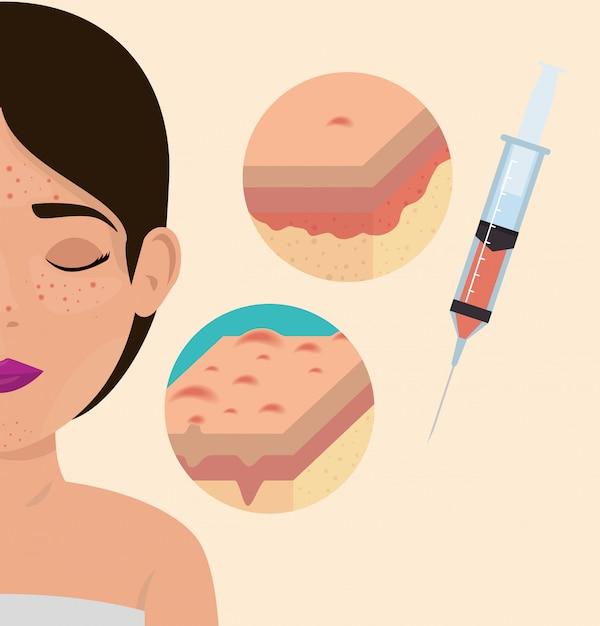 Vrouw met botoxbehandeling Gratis Vector