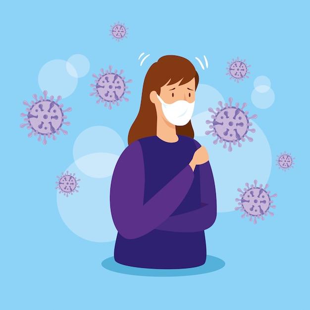Vrouw met covid 19 en ademhalingsbescherming Gratis Vector