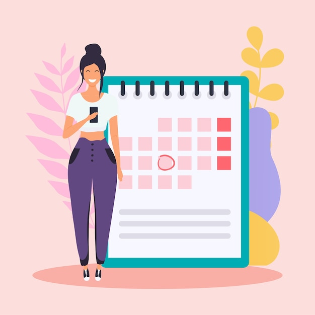 Vrouw met de telefoon heeft een kalenderplan. Premium Vector