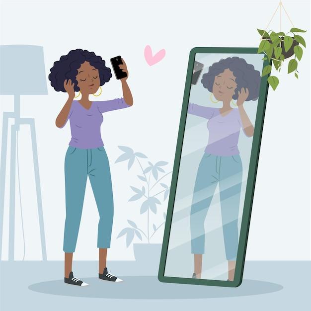 Vrouw met een hoog zelfbeeld Gratis Vector
