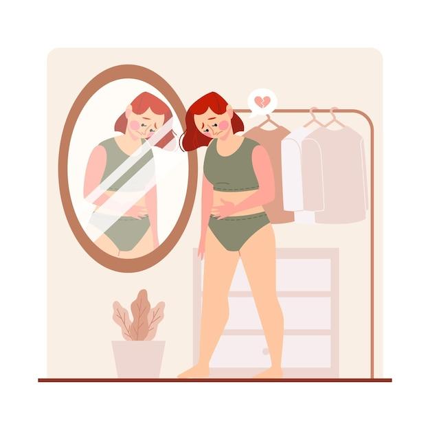 Vrouw met een laag zelfbeeld die in de spiegel kijkt Gratis Vector