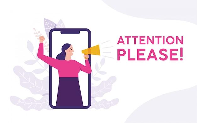 Vrouw met een megafoon en aandacht schreeuwen alstublieft Premium Vector