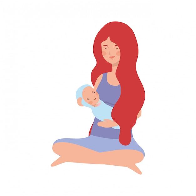 Vrouw met een pasgeboren baby in haar armen Premium Vector