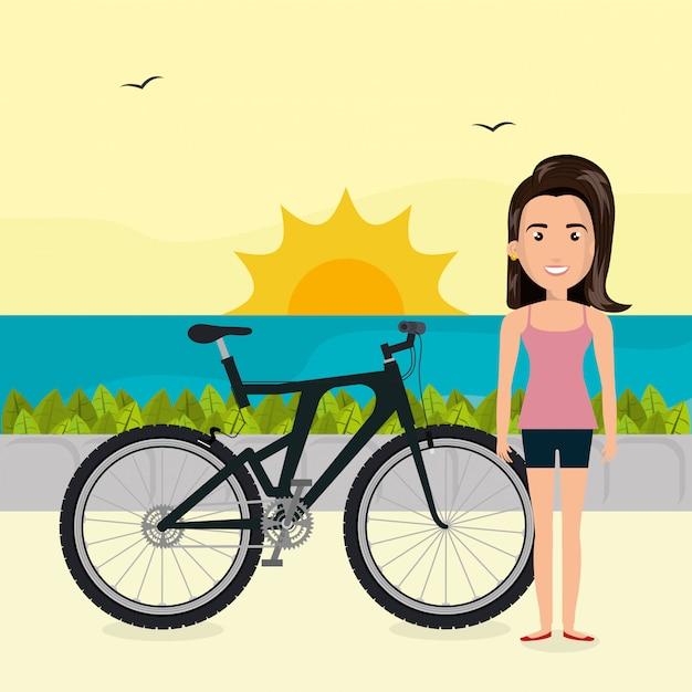 Vrouw met fiets in het landschap Gratis Vector