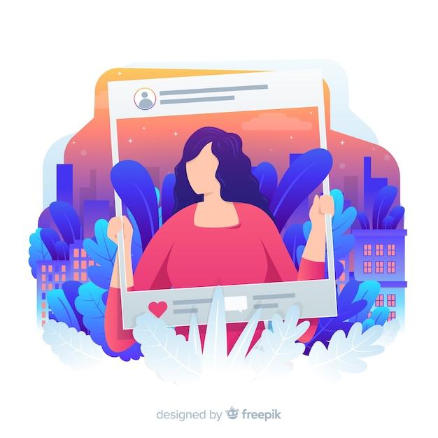 Vrouw met gebladerteachtergrond op sociale media Gratis Vector