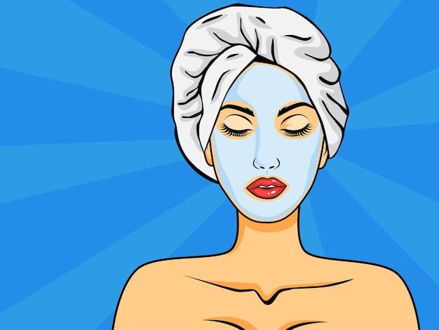 Vrouw met gezichtsmasker in pop-artstijl Premium Vector