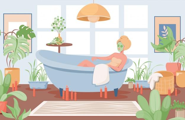 Vrouw met gezichtsmasker nemen badkuip vlakke afbeelding. badkamer interieur. Premium Vector