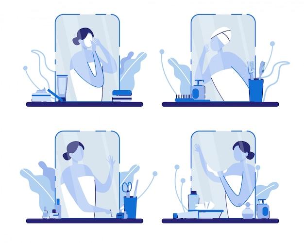 Vrouw met handdoek in de buurt van mirror with accessories. Premium Vector