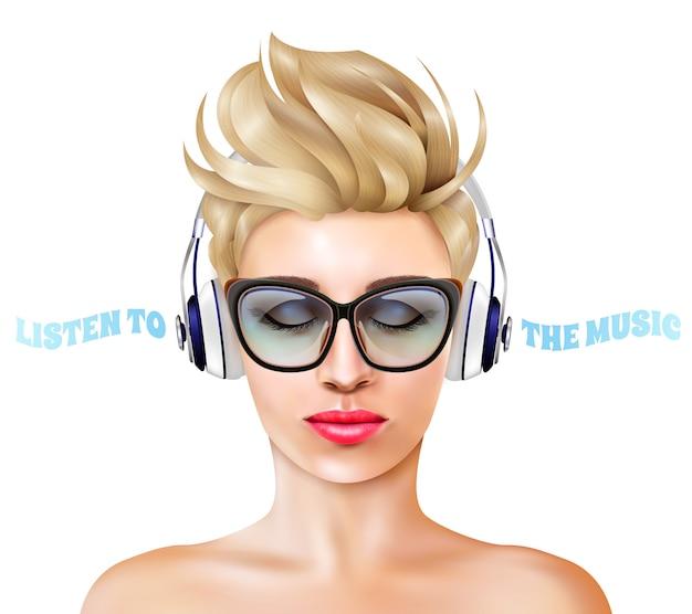 Vrouw met hoofdtelefoonillustratie Gratis Vector