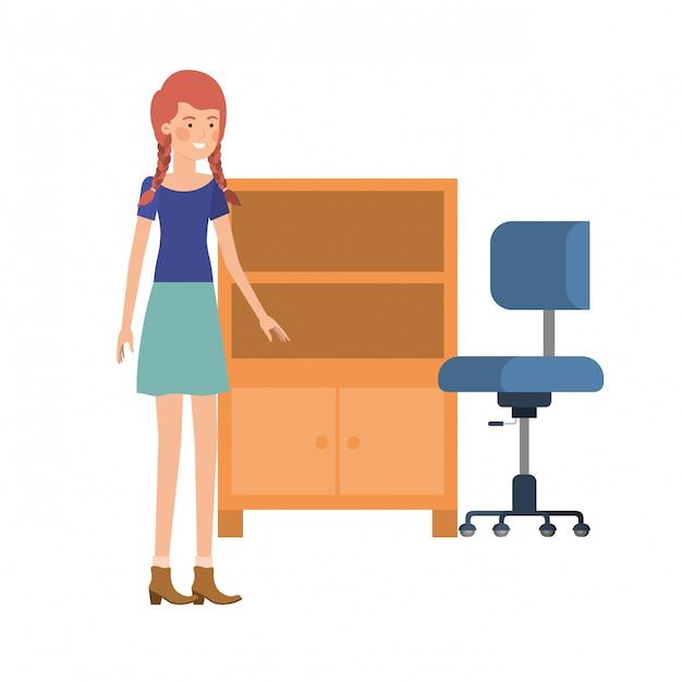 Vrouw met houten planken op wit pictogram Premium Vector