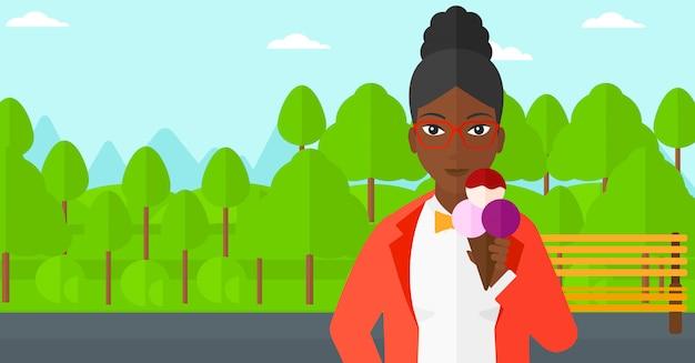 Vrouw met ijs. Premium Vector