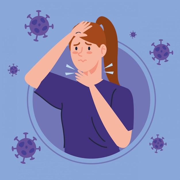 Vrouw met keelpijn ziek van coronavirus 2019 ncov Gratis Vector