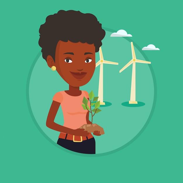 Vrouw met kleine plant vectorillustratie. Premium Vector