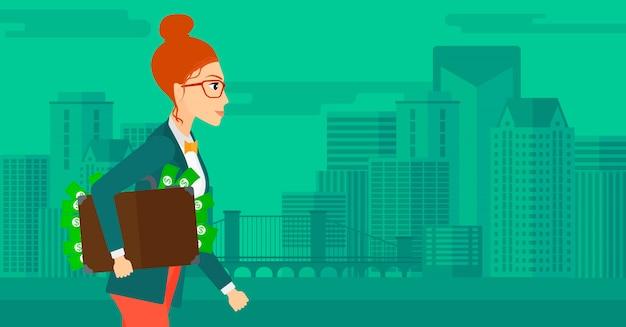 Vrouw met koffer vol geld. Premium Vector