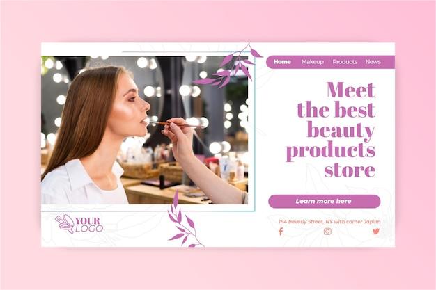 Vrouw met make-up bestemmingspagina Gratis Vector