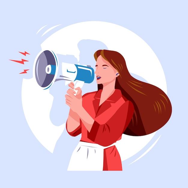 Vrouw met megafoon gillend concept Gratis Vector