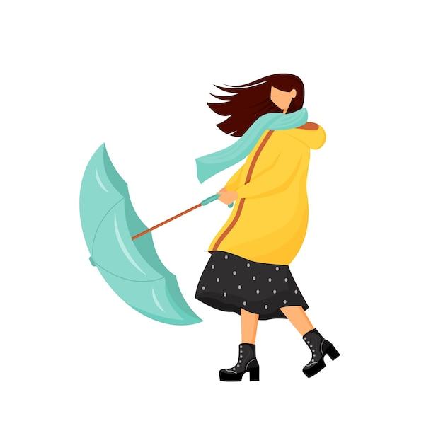 Vrouw met paraplu bij storm egale kleur anonieme karakter. regenachtige herfstoutfit voor dames. regenjas voor buiten wandelen in het koude seizoen. winderig weer geïsoleerde cartoon afbeelding Premium Vector