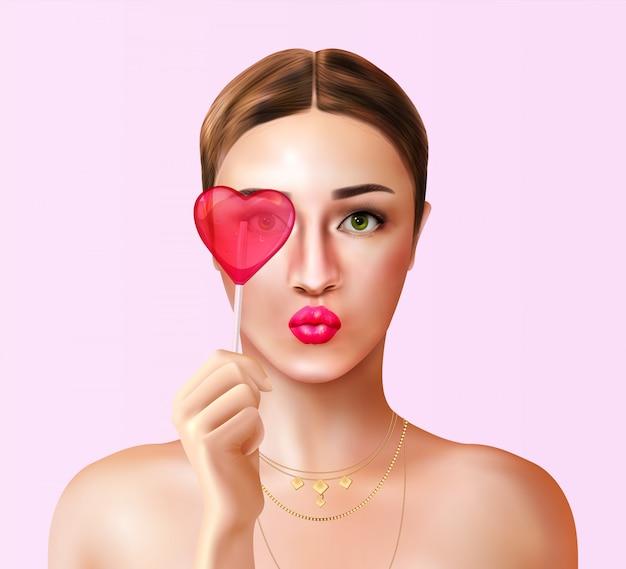 Vrouw met snoep realistische samenstelling met portretmening van jonge vrouw en hart gevormde suikergoedlolly Gratis Vector