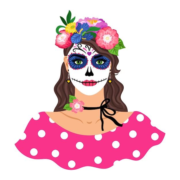 Vrouw met suikerschedel make-up illustratie. meisje met bloemenkroon op wit wordt geïsoleerd dat. dia de los muertos vakantie carnaval. vrouwelijk personage met mexicaanse catrina-make-up Premium Vector