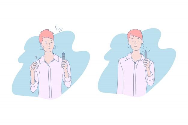 Vrouw met tabak en elektronische sigaretillustratie Premium Vector
