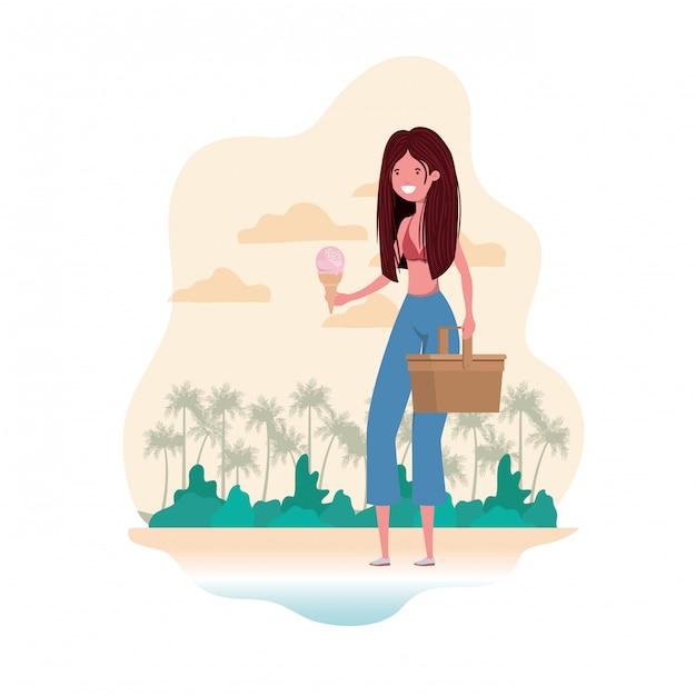 Vrouw met zwempak en stropicknick Gratis Vector