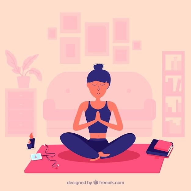 Vrouw mindfulness meditatie achtergrond Premium Vector